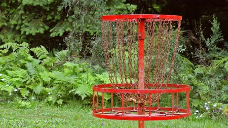 golf sahası : Disc flying into basket on disc golf course, Oregon