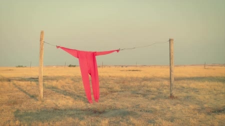 varal : Red long johns hanging on a clothesline on the prairie, South Dakota