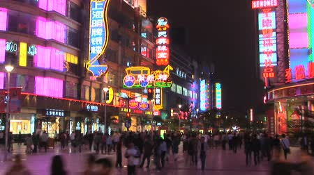 kerület : Neon lights on Nanjing Road, pedestrian mall, Shanghai, China, time lapse