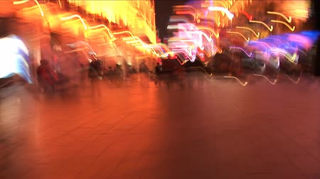 nanjing road : Handheld slow motion shot of the Neon lights on Nanjing Road, Shanghai, China Stock Footage