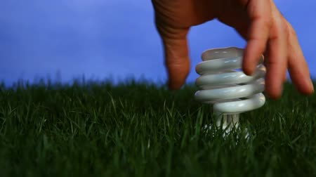 światło : Compact fluorescent light bulb inserted into patch of grass and lighting up