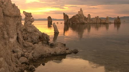nevada : Tufa formations at Mono Lake, California (made of limestone) Stock Footage