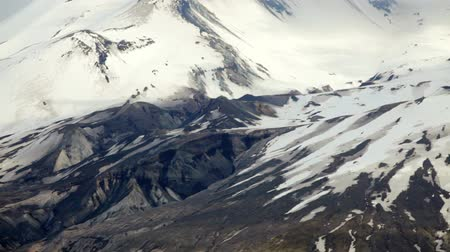 View of Mount St Helens and its crater, pan and tilt, Washington
