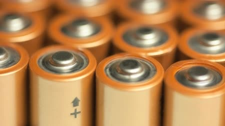 Rows of batteries, close up