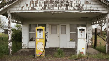 Old fashioned gas pumps, dolly shot, Oregon