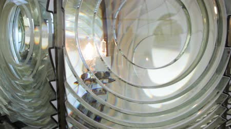 Primo piano di lente di Fresnel a Cape Blanco Lighthouse, Oregon