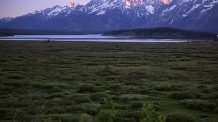 grand tetons : Grand Teton National Park at sunset, pan and tilt