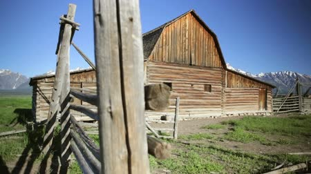 ahır : John Moulton barn on Mormon Row, Grand Teton National Park, dolly shot