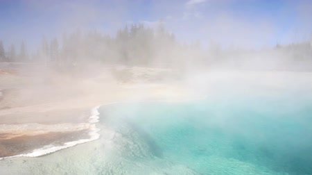 geiser : Black Pool geiser in Yellowstone National Park, Dolly shot