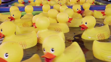 adil : Yellow rubber ducks, carnival game, close-up