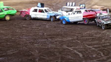 Demolition derby, fiera Clark County, Washington, lasso di tempo Filmati Stock