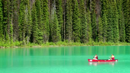 kano : Two people canoe on Emerald Lake in Yoho National Park, Canada, Stok Video