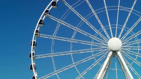 waterkant : Spinning reuzenrad, Seattle Great Wheel Stockvideo