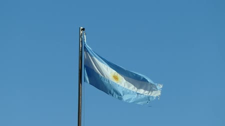 aires : Scene from Argentina South America Slow Zoom Motion Close Up Sunny Day National flag flying in
