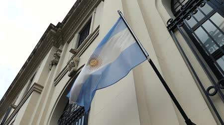 gururlu : Scene from Argentina South America Slow Zoom Motion Close Up Sunny Day National flag flying in