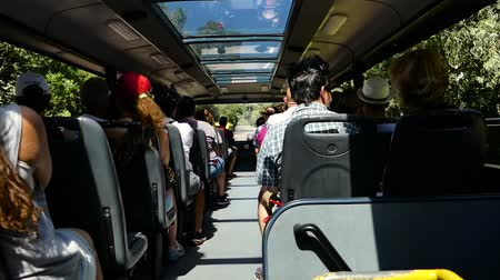 brezilya : Scene from Countryside Brazil South America Slow still Motion shot zoom Group of Tourists Backpackers on bus