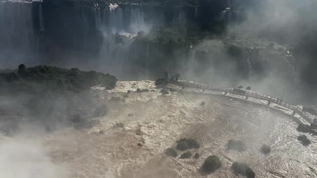 brezilya : Scene from iguazu iguassu Waterfalls Brazil South America Stok Video