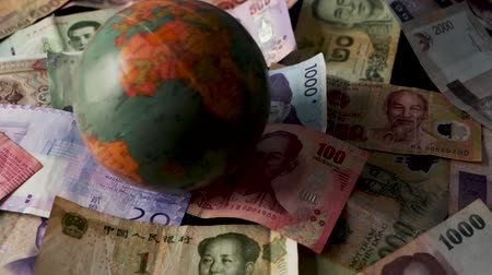 renminbi : FHD 29.97FPS footage of Foreign Money Spinning World Trade Deal World Currency Trade War Graded Stationary