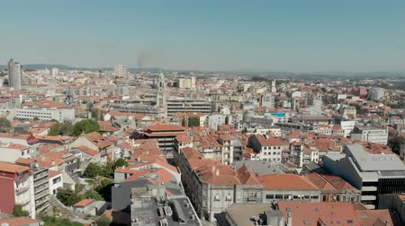 flying upwards : 4k Drone take off and ascent in Porto. Aerial footage across the whole of Porto skyline and cityscape showing the key landmarks and attractions of the city