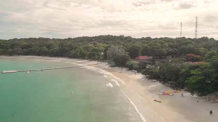 4k Aerial Drone Shot of Paradise Thai Island with Golden Sands and Turquoise Blue Water.