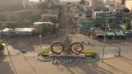 Pattaya, Thailand - August 2, 2019: 4k Drone shot of Beach Road Pattaya looking out down Central Road. Pattaya is a city on Thailand's eastern Gulf coast known for its beaches and nightlife