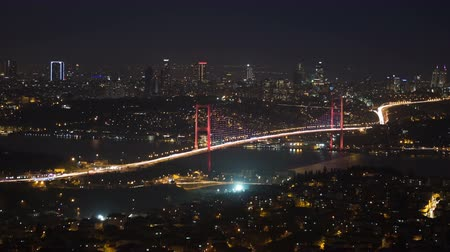 night scene : Bosphorus Bridge nightly light show in Istanbul, Turkey Stock Footage