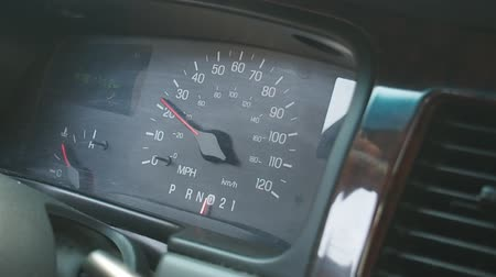rpm : Dashboard speedometer closeup - american limousine. Stock Footage