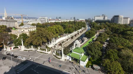 stadtpark : Aerial time lapse shot of the City Park in Vienna with the historical subway station