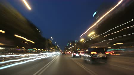 Барселона : Road Rage Camera Car Barcelona City Night 4k. Time lapse driving to the city center in Barcelona.  Three different shutter speeds to suit your project. Gorgeous, high-energy city and roads time lapse.  Good for a video background. Стоковые видеозаписи