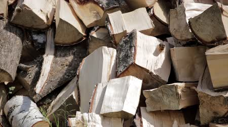 stockpile : Close up of stack of chopped birch firewood, prepared for winter. Backdrop with birch firewood in a pile. Natural wooden background Stock Footage