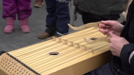 симфония : Girl performing music with traditional string instrument at the fare on the street Стоковые видеозаписи