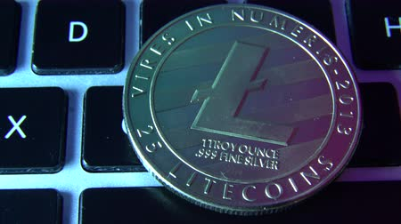mijnwerker : Circle Litecoin, lite coin on top of computer keyboard buttons. Digital currency, block chain market, online business Stockvideo
