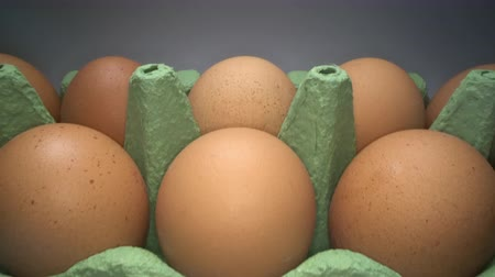Gliding through two rows of brown eggs in cardboard box on white background. Chicken eggs in basket for sale