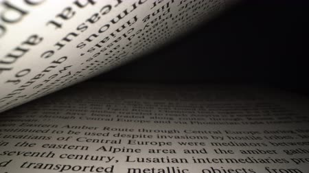 gramotnost : Dolly shot of camera sliding inside the book between letters. Latin letters and words on an open book with black dramatic background. Education, knowledge concept
