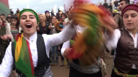 kurdistan : 21 March 2015 - DIYARBAKIR, TURKEY. Group of young women who dance and sing During the Newroz, the first day of Spring. Stock Footage