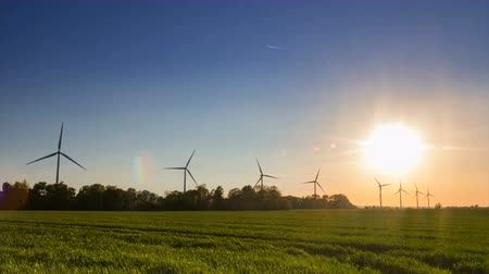 Wind farm on a field during sunset with clear sky time lapse. Sustainable living abstract concept.