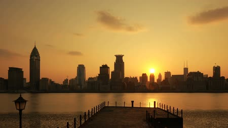 capital cities : City Sunset, Timelapse - Shanghai, China.  Stock Footage
