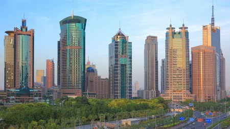 pénzügyi negyed : Shanghai Modern Financial Center. Time lapse(Zoom out).[NOTE:Logos and trademarks digitally obscured] Stock mozgókép