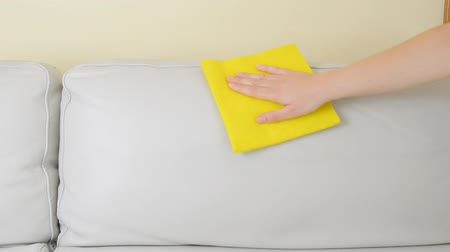 close up of a woman cleaning a beige sofa