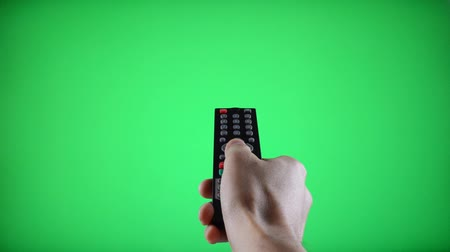 Remote Control Television changing three channel with Chroma Key Green Screen