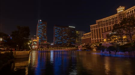 Belagio Hotel Fountain & Water Show Time Lapse Wideo