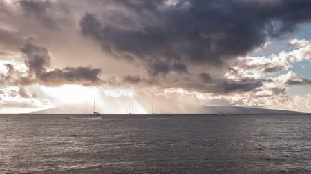 Dramatic clouds at sunset over the beautiful Hawaiian Island of Lanai time lapse video Wideo