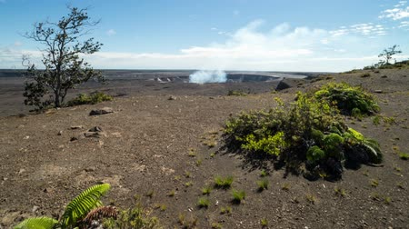 Fast moving clouds and and overlooking HalemaUmaU crater (Kilauea Volcano) time lapse video