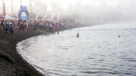 October 5th, 2014 Newport Beach, California.  Time lapse video of swimmers at the Newport Beach Triathlon