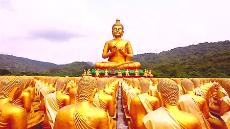 budist : Dolly: Golden Buddha at Buddha Memorial park , Nakornnayok, Thailand, HD 1080P