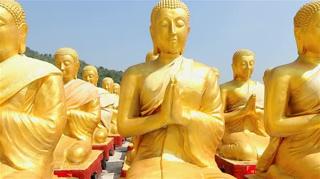 budismo : HD: Dolly: Golden Buddha at Buddha Memorial park , Nakornnayok, Thailand, HD 1080P