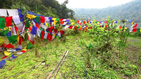 himalaia : HD: Buddhist prayer flags blowing in the wind, 1920x1080