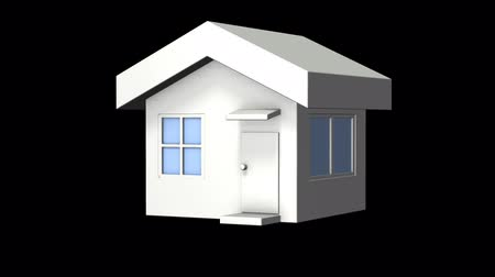 image house : Miniature model of the house. It will rotate 360 degrees at 600 frames. computer generated image Transparent background for the overlay Stock Footage