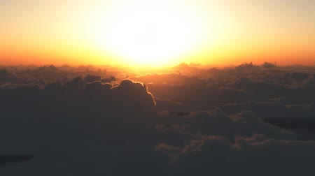 előérzet : Shooting from the viewpoint of flying over the sea of clouds. The rising sun rises from under the sea of clouds. Computer Generated Footage. Stock mozgókép