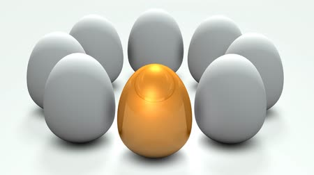 olasılık : A golden egg. It has potential among multiple candidates. 3D rendering